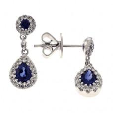 18ct White Gold Sapphire & Diamond Drop Earrings