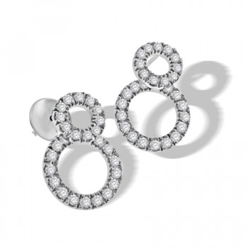 18ct White Gold Double Diamond Halo Earring Drops