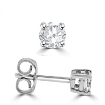 18ct White Gold .51ct Diamond Solitaire Stud Earrings