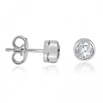 18ct White Gold Diamond Solitaire Rubover Earrings