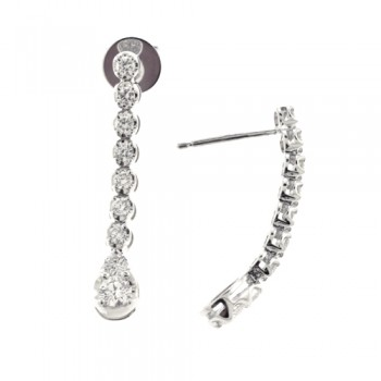 18ct White Gold Diamond Earring Drops