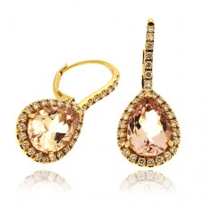 18ct Rose Gold Morganite & Diamond Pear Drop Earrings