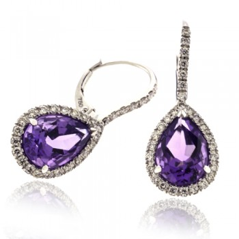 18ct White Gold Amethyst Diamond Halo Drop Earrings