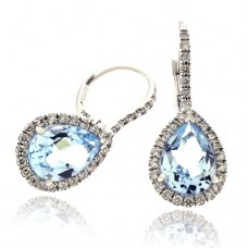 18ct White Gold Blue Topaz Diamond Halo Drop Earrings