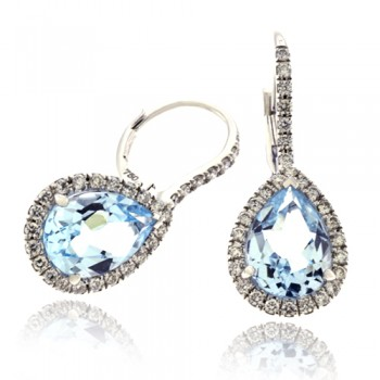 18ct White Gold Blue Topaz Diamond Halo Drop Earrings