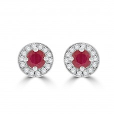 9ct Gold Ruby and Diamond Halo Stud Earrings