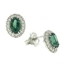 18ct White Gold Emerald & Diamond Stud Earrings