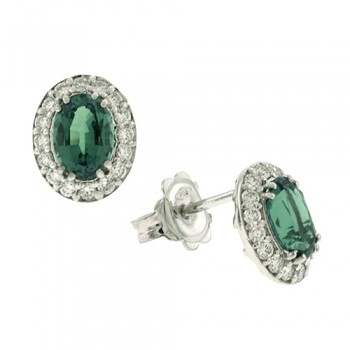 18ct White Gold Emerald & Diamond Stud Earrings