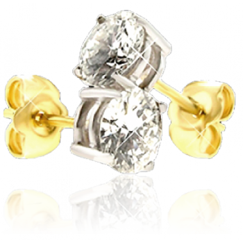 18ct Gold Solitaire Diamond Stud Earrings