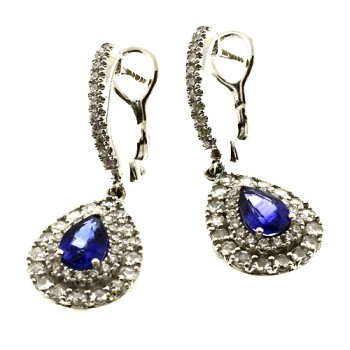18ct White Gold Sapphire & Diamond Drop Earrings