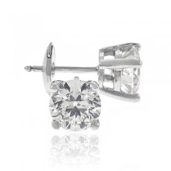 18ct White Gold Solitaire 2.02ct Diamond Earrings