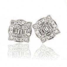 18ct White Gold Diamond Baguette Cluster Stud Earrings