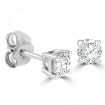 18ct White Gold Solitaire .67ct Diamond Stud Earrings