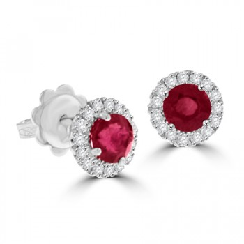 18ct White Gold Ruby & Diamond Halo Stud Earrings