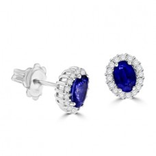 18ct White Gold Sapphire & oval Diamond Halo Stud Earrings