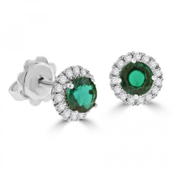 18ct White Gold Emerald & Diamond Halo Stud Earrings