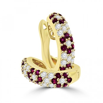 18ct Gold Ruby & Diamond Hooped Earrings
