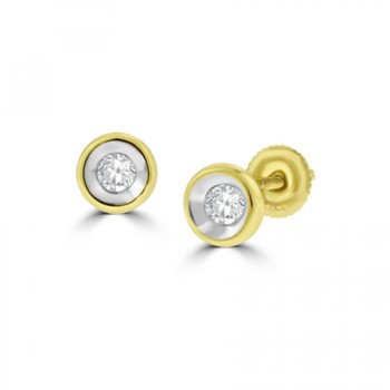 18ct Gold Full Moon .25ct Diamond Stud Earrings