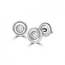18ct White Gold .25ct Diamond Full Moon Stud Earrings