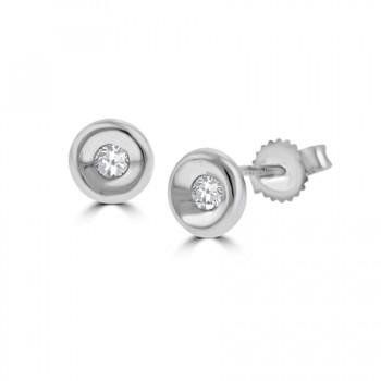 18ct White Gold Full Moon .15ct Diamond Earring Stud Earrings