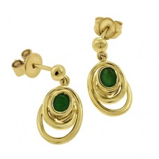 9ct Gold Emerald Drop Earrings