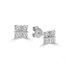 18ct White Gold 4-stone Diamond Stud Earrings