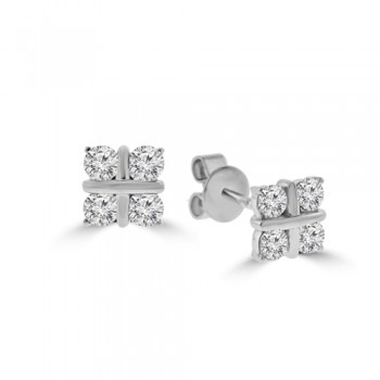 18ct White Gold 4-stone Diamond Stud Earrings