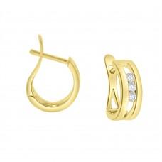 18ct Gold Diamond Trilogy Pincer Hoop Earrings