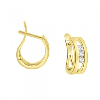 18ct Gold Diamond Trilogy Pincer Hoop Earrings