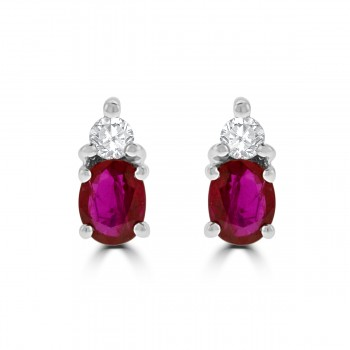 18ct White Gold Ruby & Diamond Stud Earrings