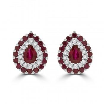 18ct White Gold Ruby & Diamond Pear Stud Earrings