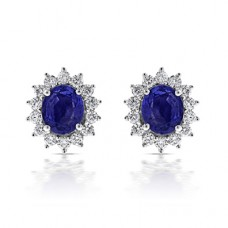 18ct White Gold Sapphire & Diamond Cluster Stud Earrings