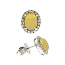 18ct White Gold Opal Diamond Halo Stud Earrings