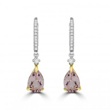 18ct White & Rose Gold Morganite & Diamond Pear Drop Earrings