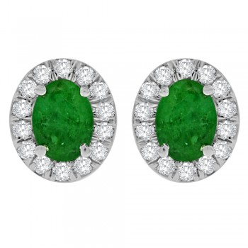 18ct White Gold Emerald & Diamond Oval Cluster Stud Earrings