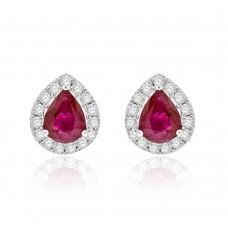 18ct White Gold Ruby Diamond Halo Stud Earrings