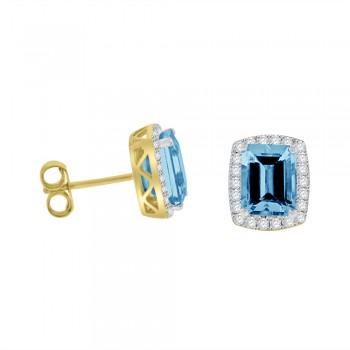18ct Gold Emerald cut Aquamarine &  Diamond Halo Stud Earrings