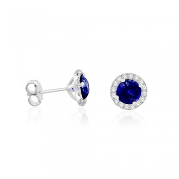 18ct White Gold Sapphire Diamond Halo Stud Earrings