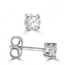 18ct White Gold Solitaire .62ct Diamond Stud Earrings