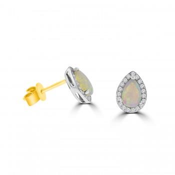 18ct Gold Opal Pear Diamond Halo Stud Earrings