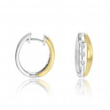 18ct Two Tone Gold 3-stone Diamond Hoop Earrings