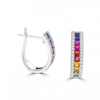 18ct White Gold Rainbow Sapphire & Diamond Hoop Earrings