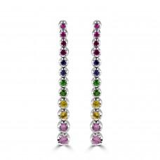 18ct White Gold Rainbow Sapphire & Ruby Drop Earrings