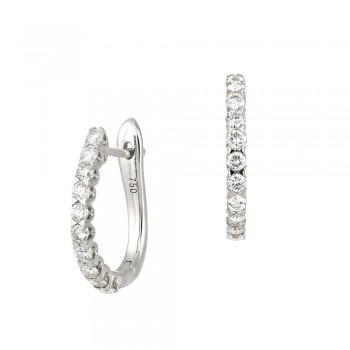 18ct White Gold Diamond Huggy Hoops Earrings