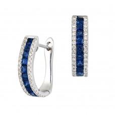 18ct White Gold Three-row Sapphire & Diamond Hoop Earrings