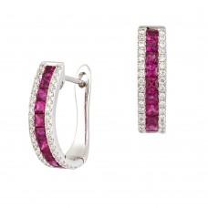 18ct White Gold Three-row Ruby & Diamond Hoop Earrings
