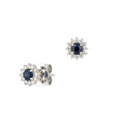 18ct White Gold Sapphire & Diamond Round Cluster Stud Earrings