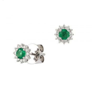 18ct White Gold Emerald & Diamond Round Cluster Stud Earrings