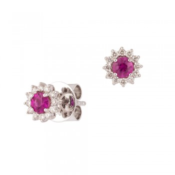 18ct White Gold Ruby & Diamond Round Cluster Stud Earrings