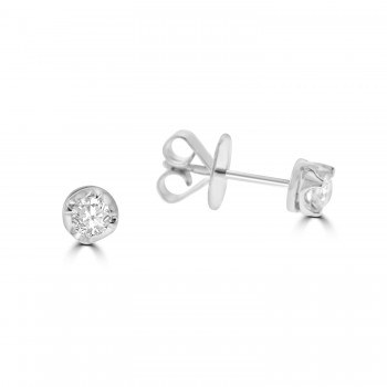 18ct White Gold Solitaire .36ct Diamond Stud Earrings
